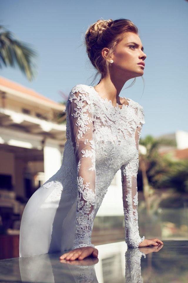 Full Sleeves Modern Wedding Dress For Brides 2046624