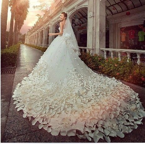 Wedding - White wedding dress decorated with petals