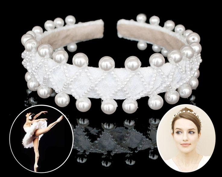 Mariage - Mariée mariage perle princesse bandeau ballerine couronne de perle casque