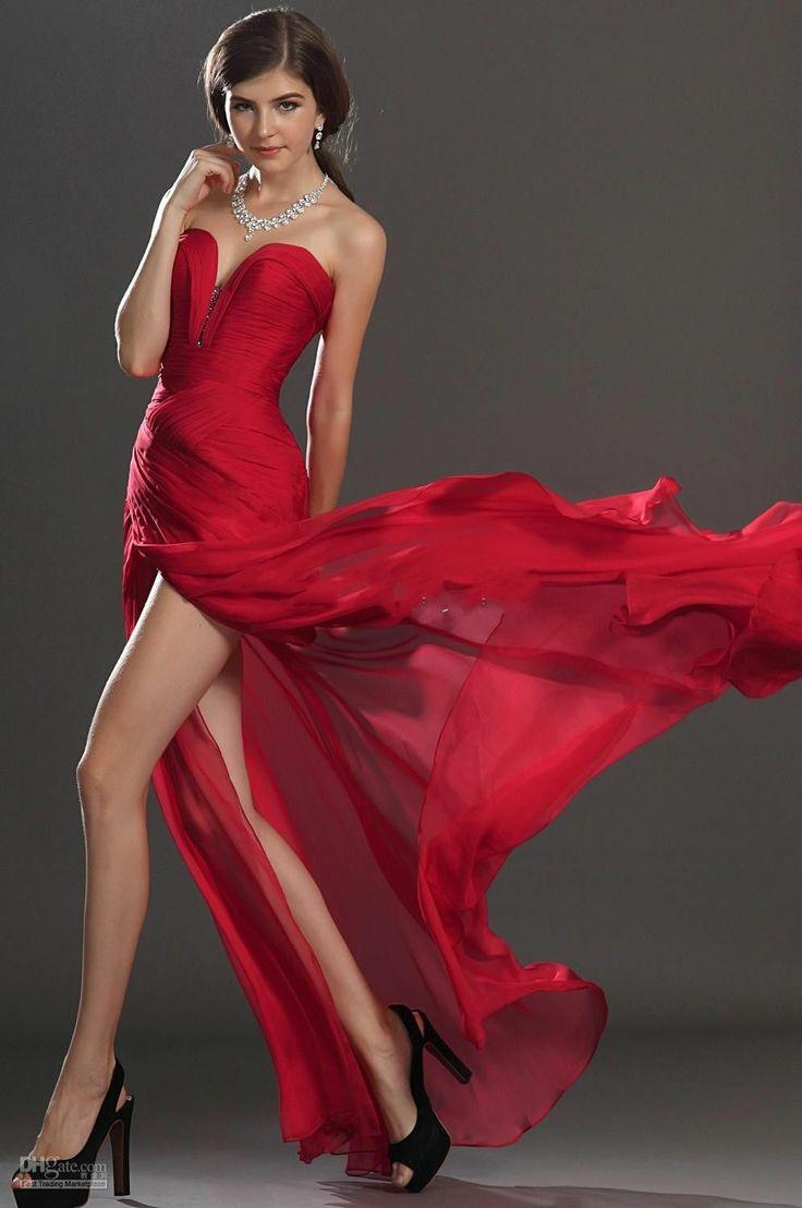 Sexy red chiffon party gown with a side slit 2049261 weddbook