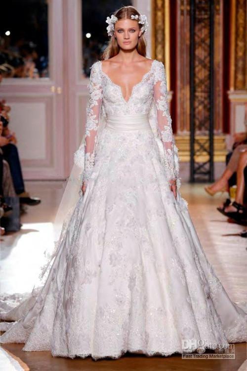 Свадьба - 2014 Sexy Свадебное Платье С Длинным Рукавом Пояс Кружевные Свадебные Платья На Заказ Размер