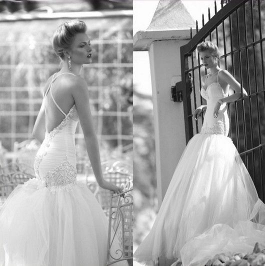 زفاف - مثير بيغيني يزين تول حورية البحر الأشرطة الزفاف فستان الزفاف حجم مخصص