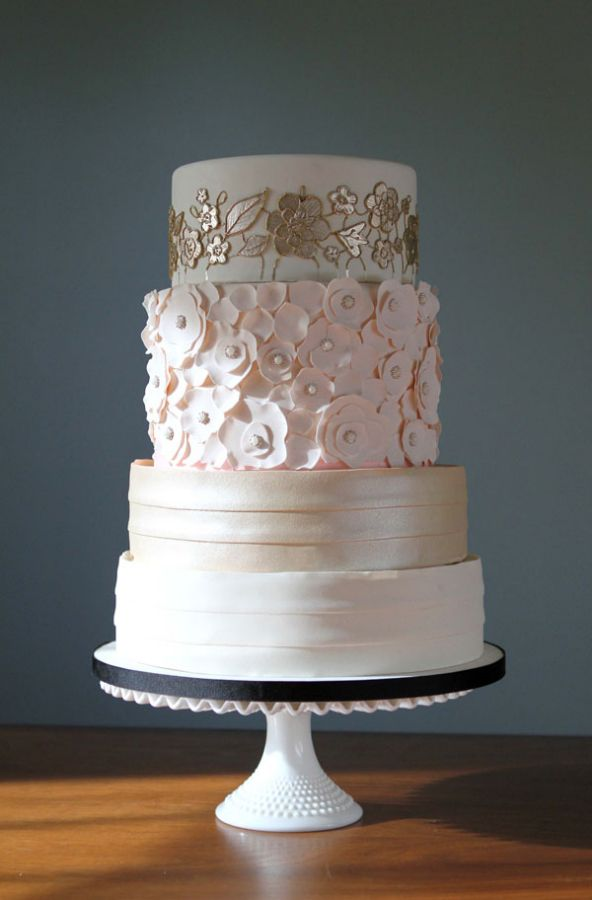 Three Tier Wedding Cake With Golden And Pink Flowers