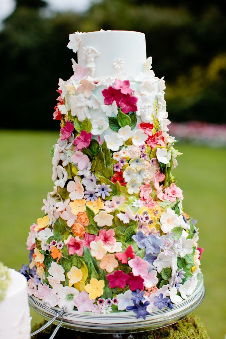 Wedding - Secret Garden Cake decorated with the beautiful ribbon.