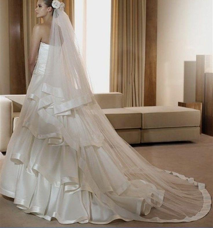 Mariage - Nouveau 2T Ivoire / Blanc longue Mantilla simple / satin Bord cathédrale de mariée mariage voile