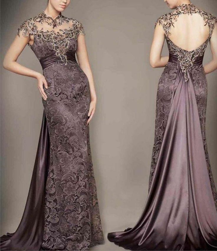 Sexy Lace Long Open Back Prom Dresses Party Pageant Formal ...