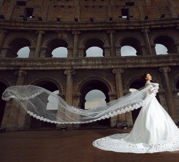 """Свадьба - Собор Белый/цвета слоновой кости 195"""" Элегантный Кружевной Край Длинная Свадебная Фата, Аксессуары/перчатка"""