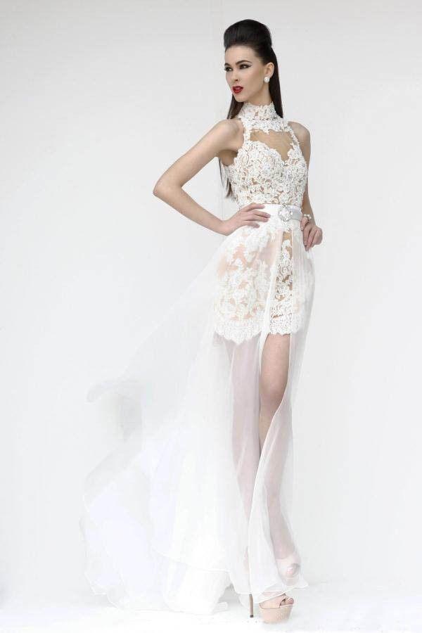 Weiß / Rot Sexy Spitze-Abend-Partei-Kleid Der Brautjungfern ...