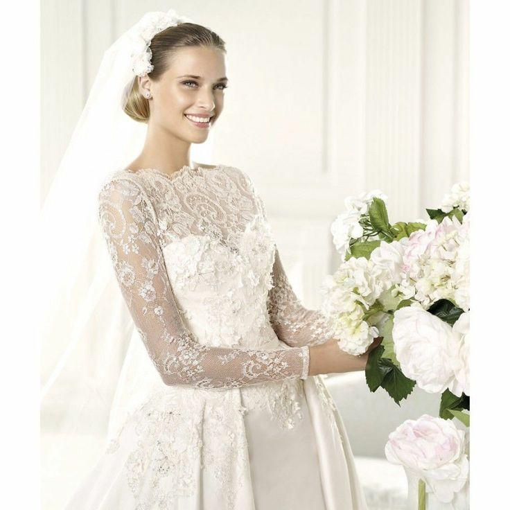 Wedding - Sophisticated white wedding dress with transparent sleeves
