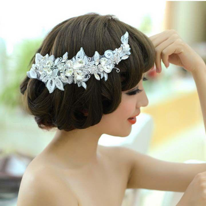 Wedding - Bridal Rhinestone Adjustable Forehead Band Butterfly Lace Hair Tiara HR204