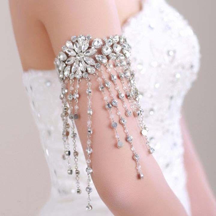Mariage - Nuptiale strass cristal ruban balancent Lolita bras Déco brassard BR369