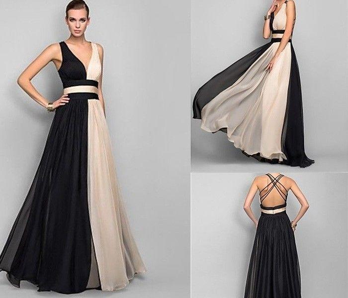 2014 Blackchampagne Long Chiffon Evening Prom Dress Wedding Gown