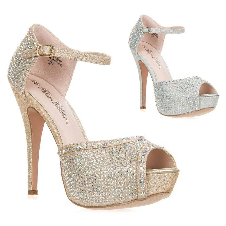New Women's Ankle Strap High Heel Platform Peep Toe Dress Bridal ...