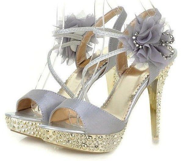 Hochzeit - Glitter Lace Flowers Party Queen Sandaletten High Heels Brautschuhe