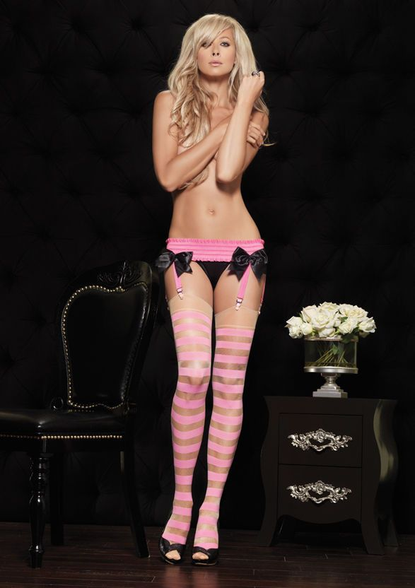 48e34068539 Sexy Sheer Bubble Gum Candy Pink Striped Thigh High Stockings ...