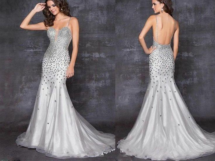 New Sexy Crystal Mermaid Evening Dresses Party Formal Prom Wedding