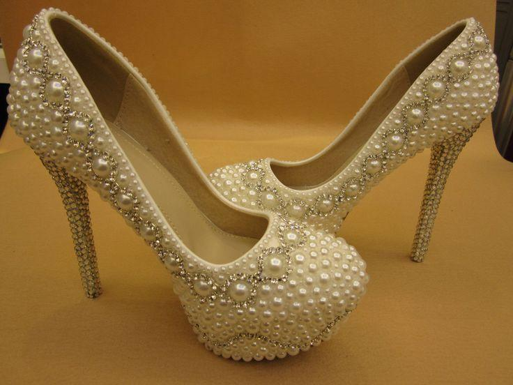 Ivory Pearl Rhinestone Closed Toe Platform Bridal Wedding Shoes