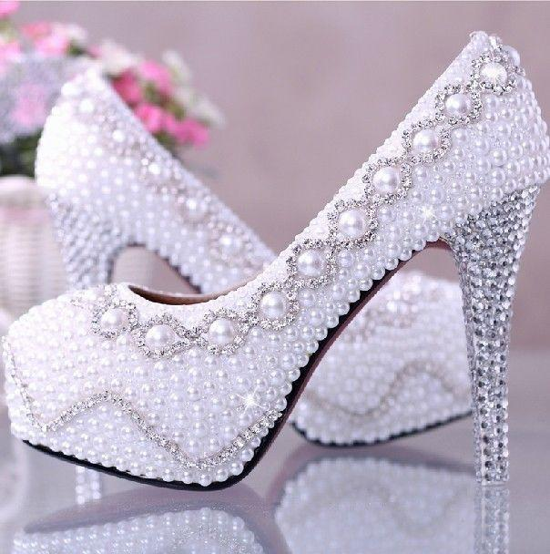 Wedding Nail Designs - Amazing White Pearl Wedding Shoes  2058960 ... 3a7fe2317d