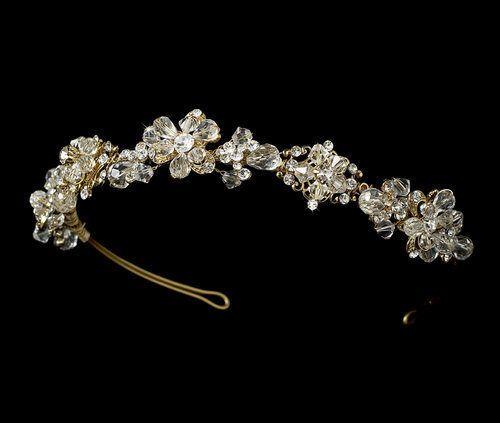 زفاف - NWT كريستال الحديثة خمر مطلية بالذهب الزفاف تيارا