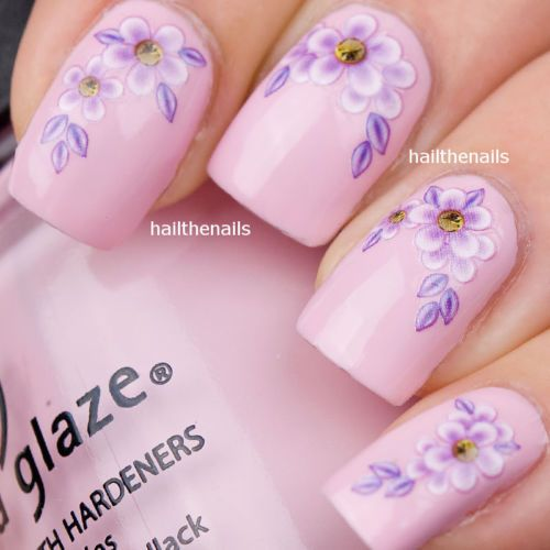 Wedding - Details About Transfert Ongle Fleur Lilas - YD021