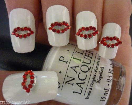 Details About 3d Design Nail Art Valentines Bling Rhinestone Red
