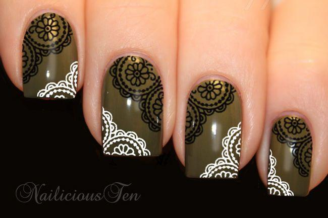 Wedding - Black White Round Daisy Lace Nail Wraps Art Water Transfer 20pcs Decals