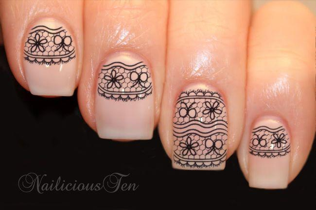 Fab Black Lace Bow Daisy Nail Wraps Art Water Transfer Decal