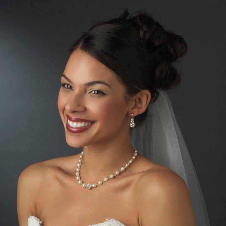 Brautschmuck set perlen  Perlen-Halskette, Ohrring, Armband Set & Accent Clear Crystal ...