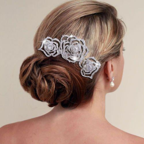 Свадьба - Люкс Для Tirple Цветок Волосы Расческой Ясно, Горного Хрусталя Винтажная