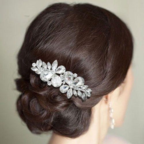 Свадьба - Люкс Для Невесты Teardrop Бабочка Цветок Волосы Расческой Ясно, Горного Хрусталя