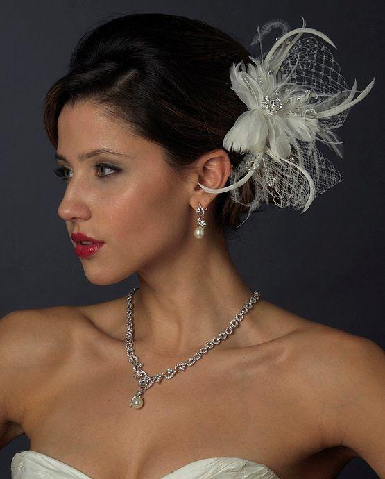 Свадьба - СЗТ светлой слоновой кости перо чародей свадебные зажим для волос