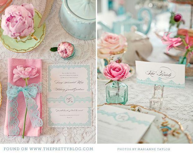 زفاف - الوردي والفيروز حزب الشاي - ديكور الإلهام