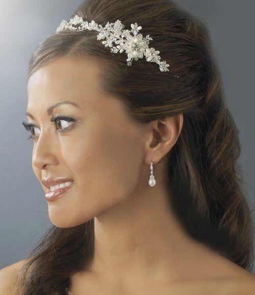 Mariage - TNO Argent nuptiale mariage de vigne perles d'eau douce et cristal Side Accent bandeau
