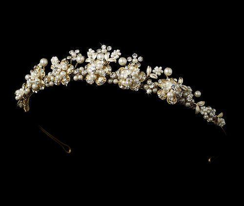 Wedding - NWT Elegant Pearl And Rhinestone Gold Plated Floral Bridal Wedding Tiara