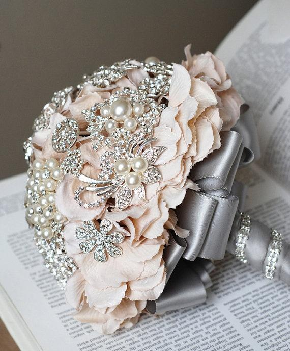 Hochzeit - Vintage Braut Brosche Bouquet - Perle Strass Kristall - Silber Pfirsich-Rosa-Grau - ein Tag RUSH BESTELLEN Verfügbar - BB001LX
