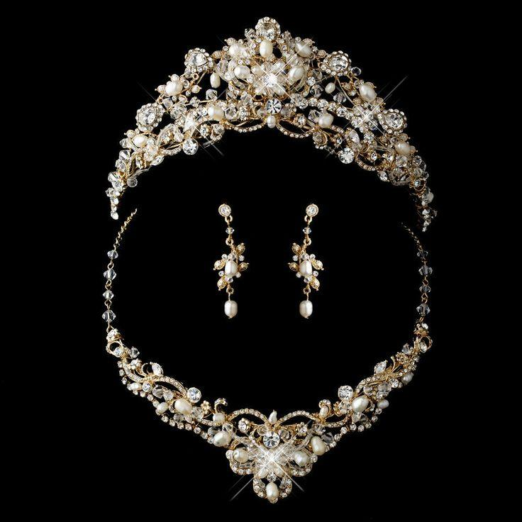Mariage - Cristal d'or perle d'eau douce de bijoux de mariage avec assortir diadème de mariée Set