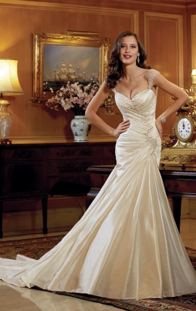 Satin Beading White/ivory Wedding Dress Bridal Gown Custom Made 2 4 ...
