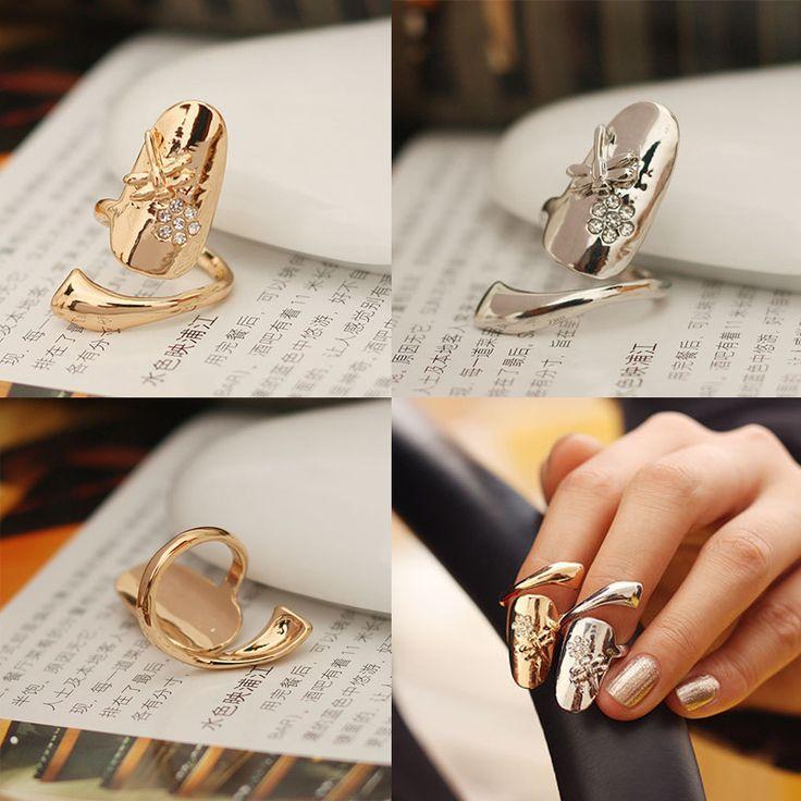 زفاف - Flower Finger Nail Ring 2 Colors