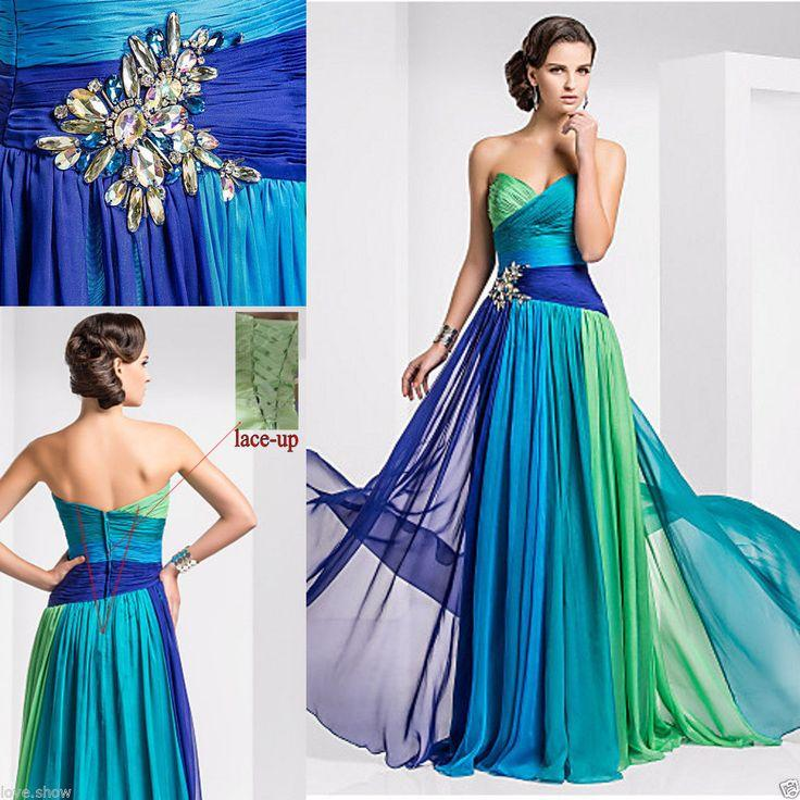 New Long Chiffon Bridesmaid Formal Gown Ball Party Cocktail ...