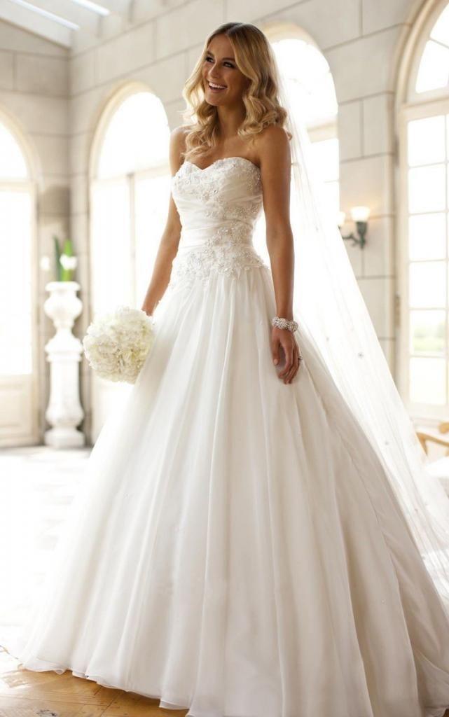 Nau Weiß Appliques Hochzeit Brautkleider Abendkleid Petticoat Gr:34 ...