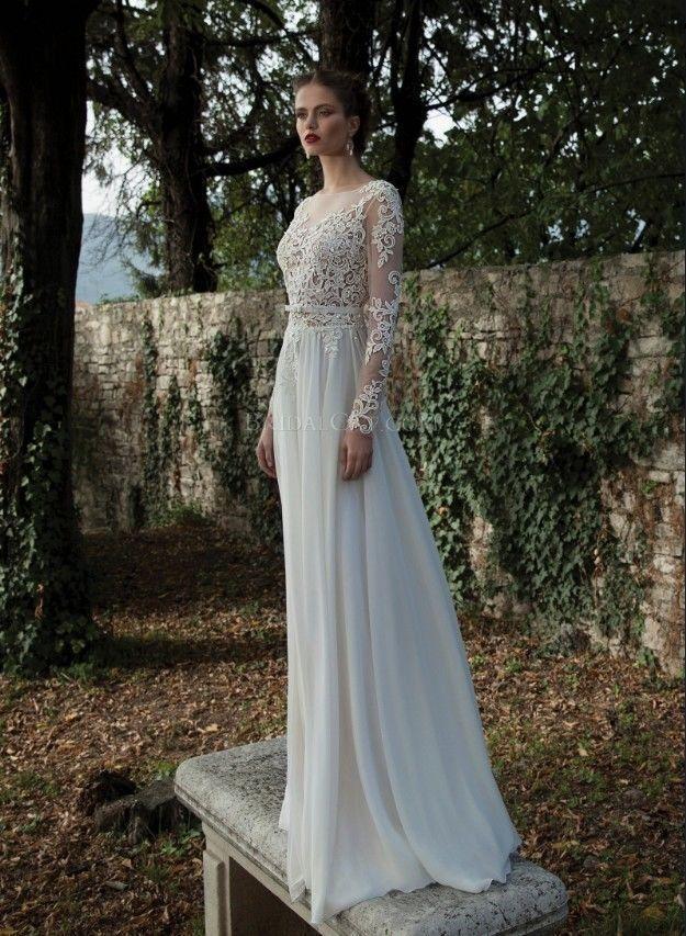 Wedding Dress Long Sleeve Backless : Wedding white ivory long sleeve backless applique dress