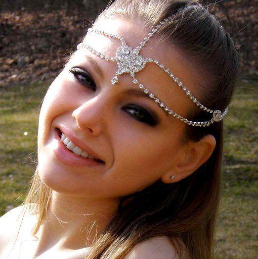 Wedding - Bridal Hair Goddess Vintage Jeweled Headpiece Forehead