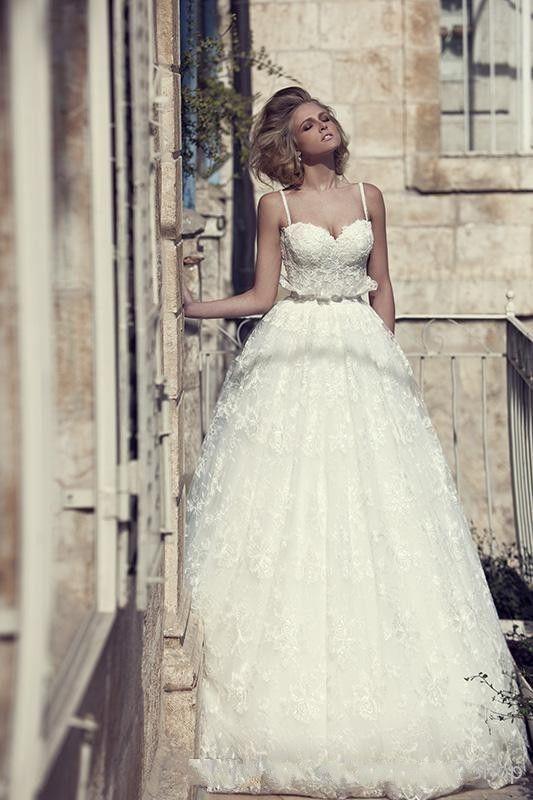 زفاف - Sweetheart Spaghetti Lace Appliqued Vintage Backless Couture Wedding Dresses