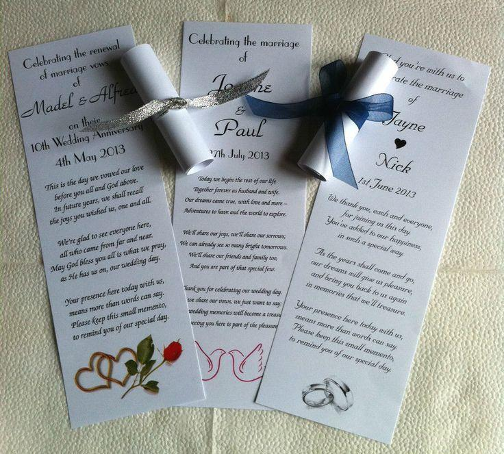 Свадьба - 100 Personalised Wedding Favour Scrolls, With Organza Ribbon, 5 Poems & 5 Styles