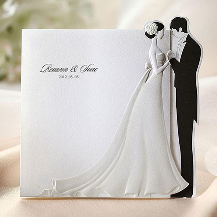 Mariage - 50 Kits Wedding Invitation 50 Cards  50 Envelopes 50 Seals BH2069 With Printing