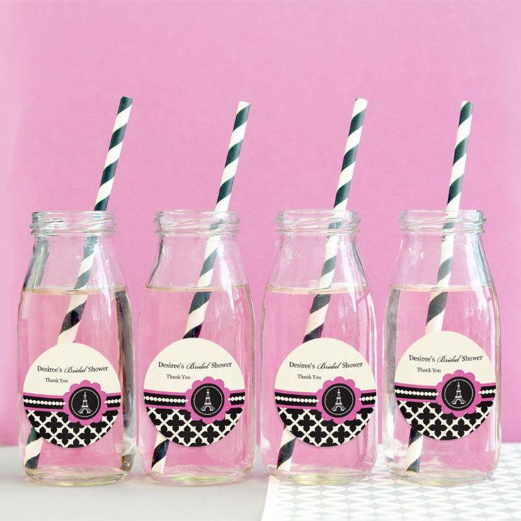24 Parisian Paris Themed Birthday Party Shower Personalized Milk Bottles 2160987