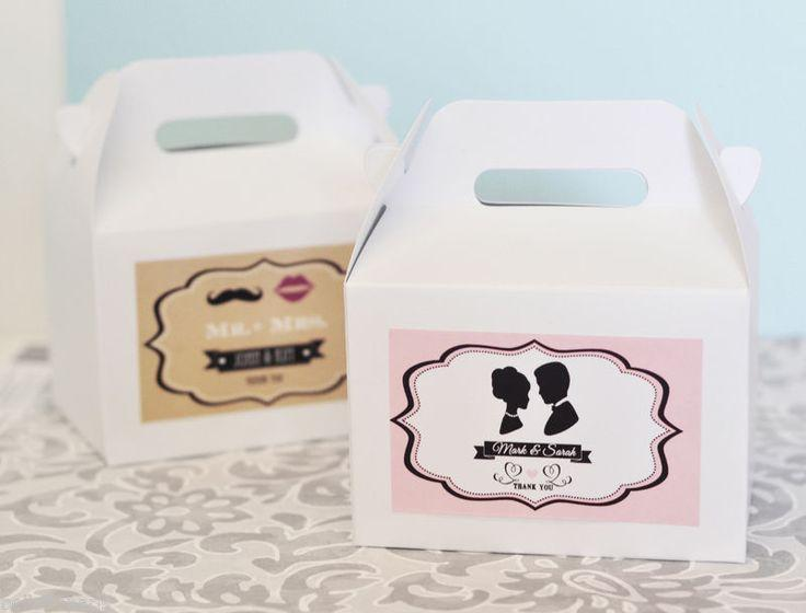 Mariage - 96 Vintage Themed Personalized Mini Gable Take Out Wedding Shower Favor Boxes