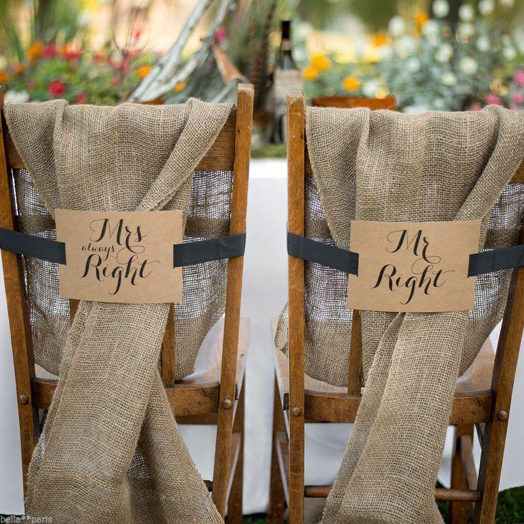 Mr And Mrs Kraft Chair Banners Wedding Table Decor Decoration