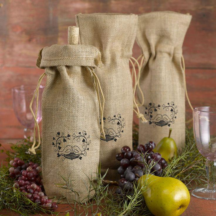 Wedding - Hortense Burlap Love Birds Wine Bag Wedding Table Decor Set Of 2