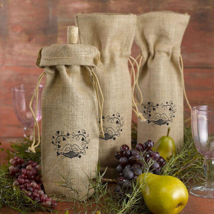 Hortense Burlap Love Birds Wine Bag Wedding Table Decor Set Of 2